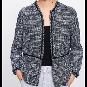 Zara Short Tweed Jacket Size Large